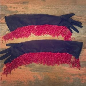 Burlesque pin-up fringe long gloves black red